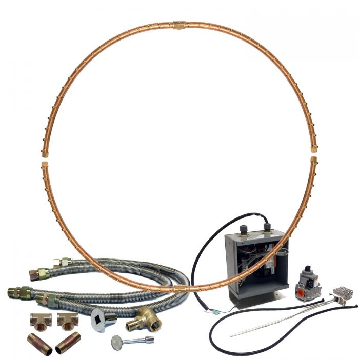 Warming Trends Crossfire 24V Electronic Spark Ignition Full-Circle Brass Gas Fire Pit Burner Kits