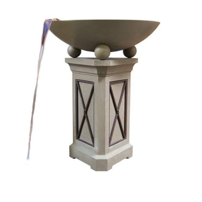 American Fyre Designs Versailles 40-Inch Fire Bowl with 44-Inch Pedestal and Water Spout
