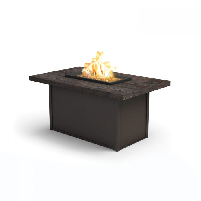 Homecrest Timber Collection Rectangle Chat Height Gas Fire Pit Table