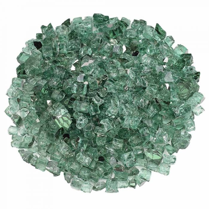 American Fireglass 10-Pound Premium Fire Glass, 1/2 Inch, Evergreen Reflective