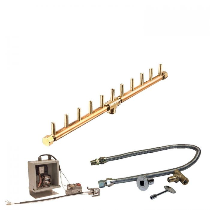 Warming Trends Crossfire 3V Electronic Spark Ignition Linear Brass Gas Fire Pit Burner Kits