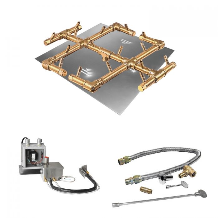Warming Trends Crossfire 24V Electronic Hot Surface Ignition Original Brass Gas Fire Pit Burner Kits