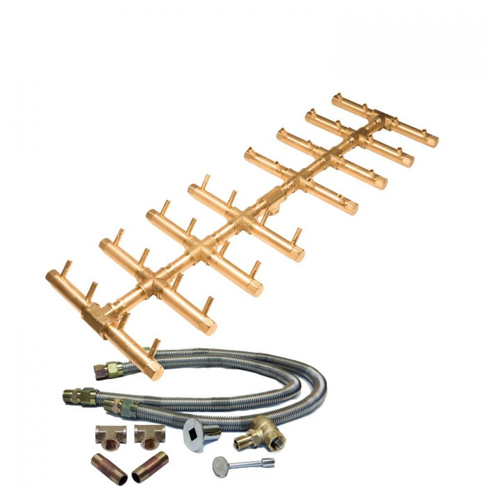Warming Trends Crossfire Match Lit Linear Double Tree-Style Brass Gas Fire Pit Burner Kit