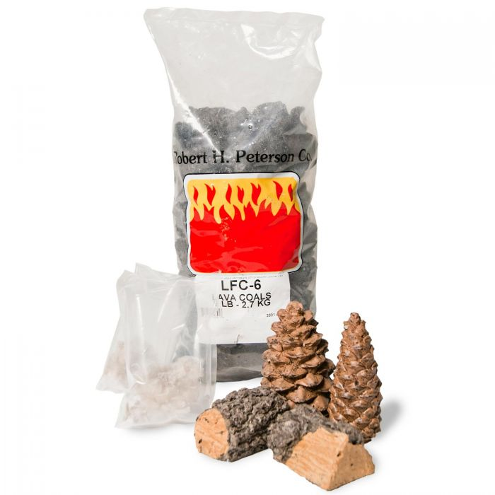 Real Fyre DP-5 Decor Pack with Bryte Coals, Lava Coals, Wood Chips and Pine Cones