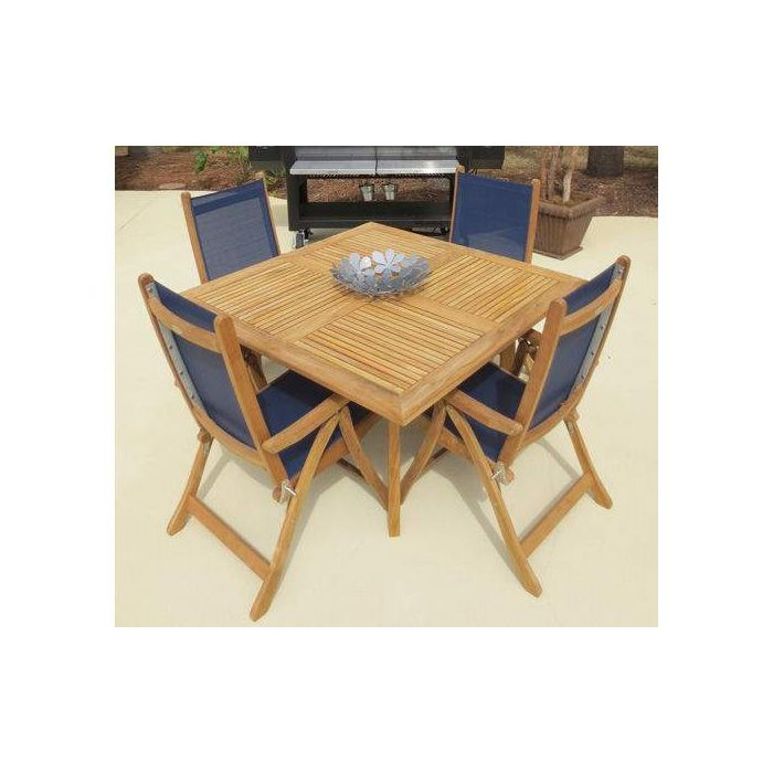 Royal Teak Collection DP50S Square Dolphin Teak Table, 50x50-Inch