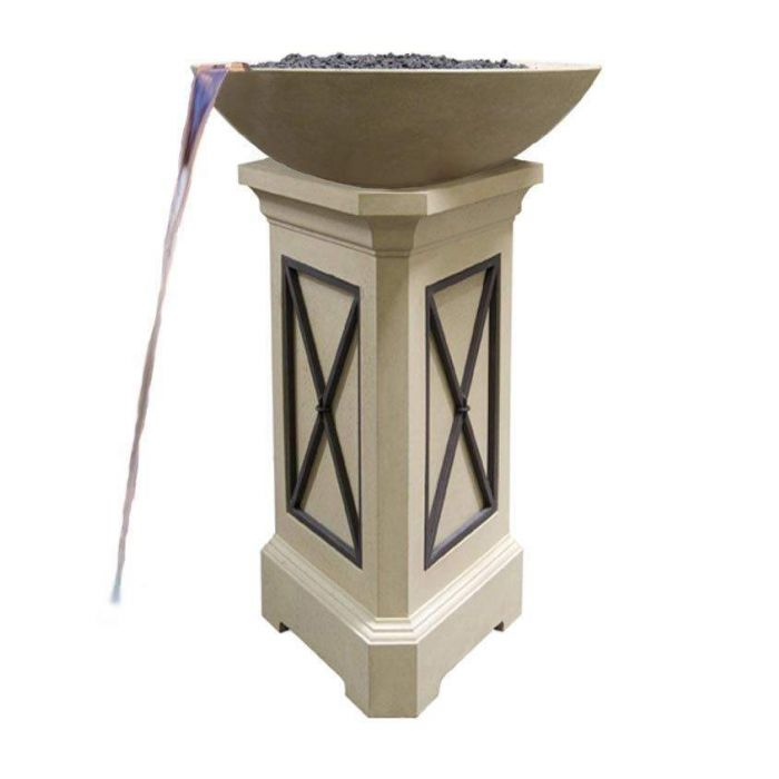 American Fyre Designs Marseille 40-Inch Fire Bowl with 54-Inch Pedestal and Water Spout