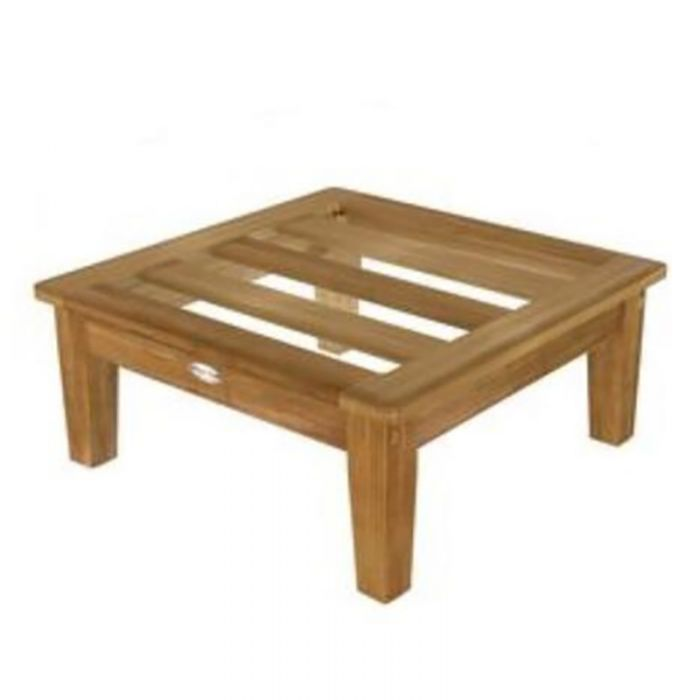 Royal Teak Collection MIAOTFO Miami Teak Ottoman, Frame Only (Cushions Not Included)