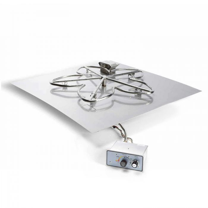 Hearth Products Controls FPPK Push Button Flame Sensing Gas Fire Pit Kit, Square Flat Pan