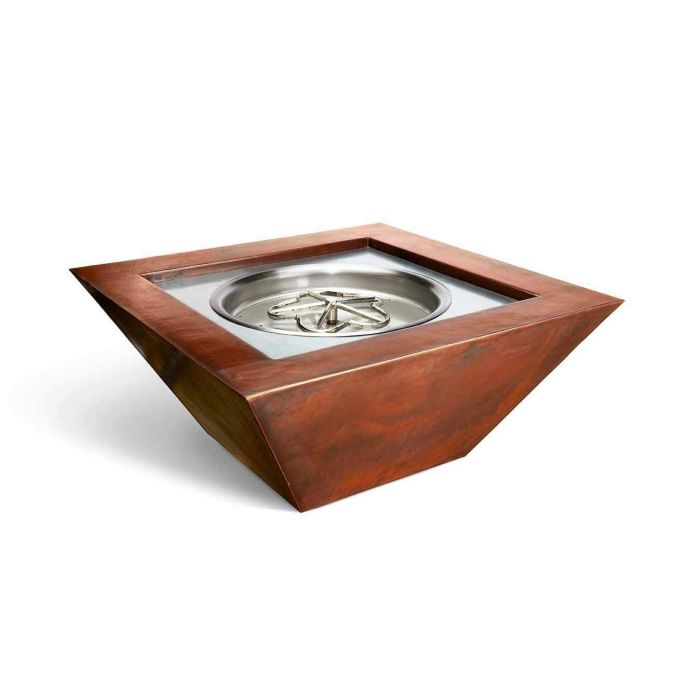 HPC Sierra Smooth Copper Bowl Fire Pit with Electronic Ignition EI Fire Pit Insert
