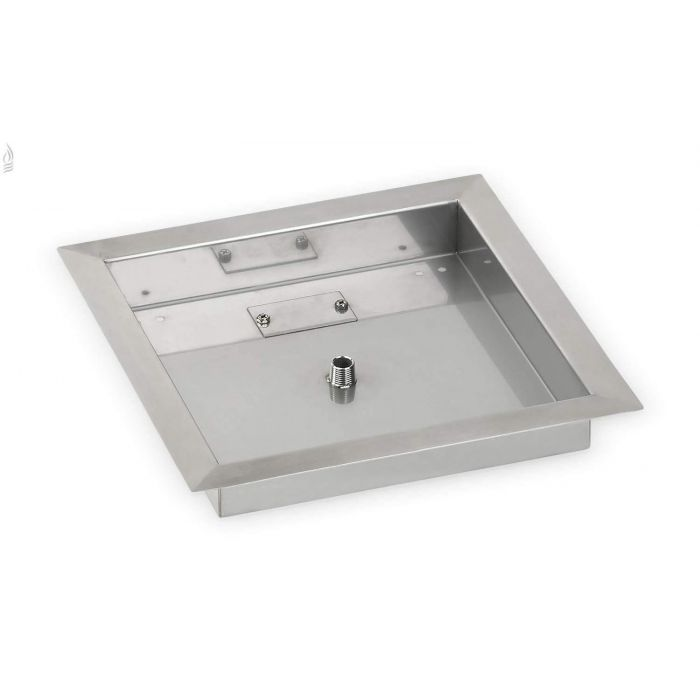 Square Bowl Stainless Steel Drop-In Fire Pit Burner Pan, 12x12 Inch