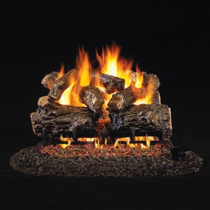 Real Fyre HCHR Burnt Rustic Oak Stainless Steel Vented Gas Log Set, ANSI Certified