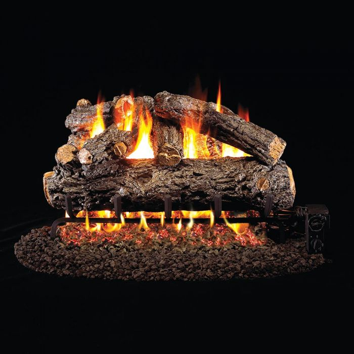 Real Fyre HRD Rustic Oak Designer Stainless Steel Vented Gas Log Set, ANSI Certified