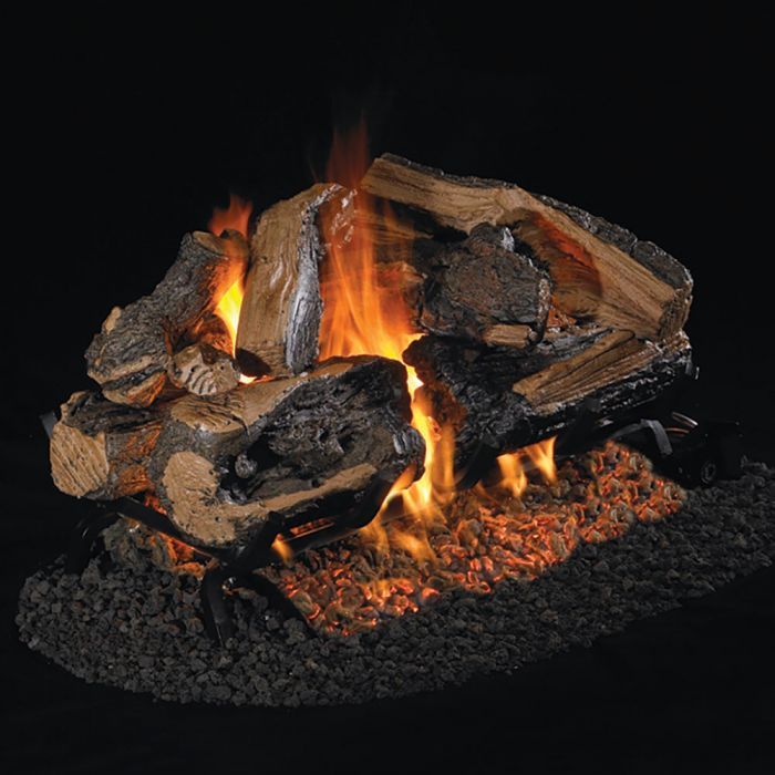 Real Fyre RRSO Rugged Split Oak Vented Gas Logs, See-Thru