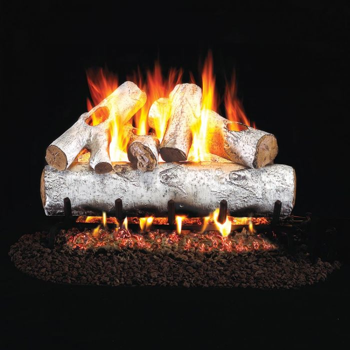 Real Fyre W White Birch Stainless Steel Vented Gas Log Set, ANSI Certified