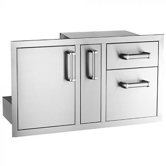 Fire Magic Premium Access Door with Platter Storage and Double Drawers, Flush Mounted