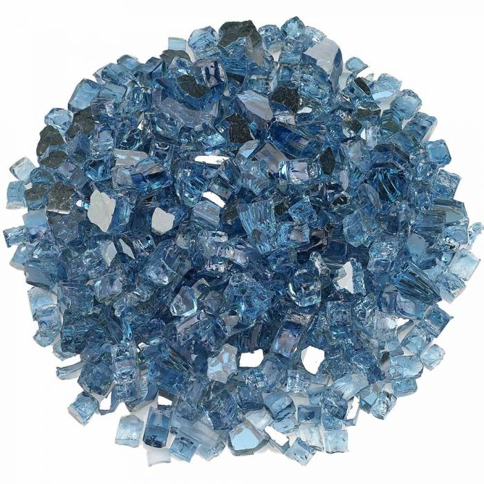 American Fireglass 10-Pound Premium Fire Glass, 1/2 Inch, Pacific Blue Reflective