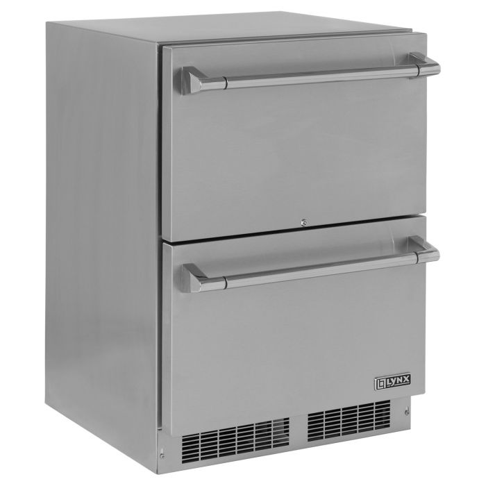Lynx Stainless Steel Outdoor Two Drawer Refrigerator, 24-Inch