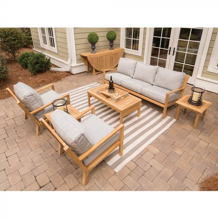 Royal Teak Collection P121 Coastal Deep Seating 6-Piece Teak Patio Conversation Set with Seating, Rectangular Coffee Table, Square Side Tables & Sunbrella Cushions