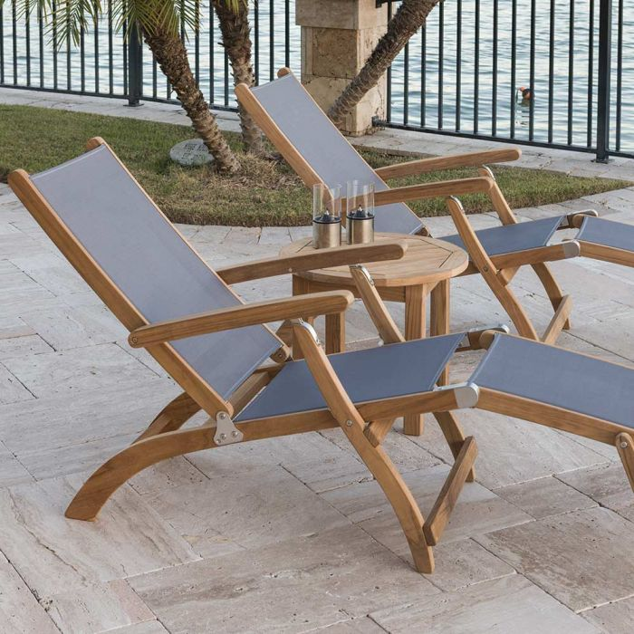 Royal Teak Collection P140 3-Piece Teak Patio Conversation Set with Sling Steamer Loungers & 20-Inch Round Side Table