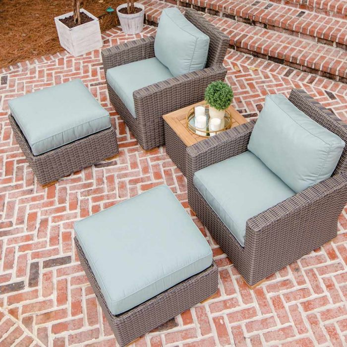 Royal Teak Collection P160 Sanibel Deep Seating 5-Piece Wicker Patio Conversation Set with Chairs, Ottomans, Side Table & Sunbrella Cushions