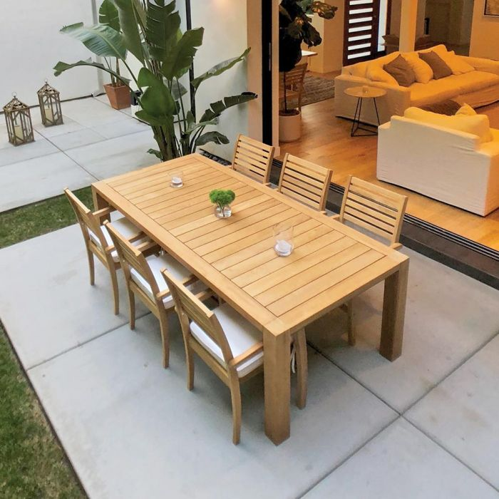 Royal Teak Collection P38 7-Piece Teak Patio Dining Set with 96x44-Inch Rectangular Table & Avant Stacking Chairs