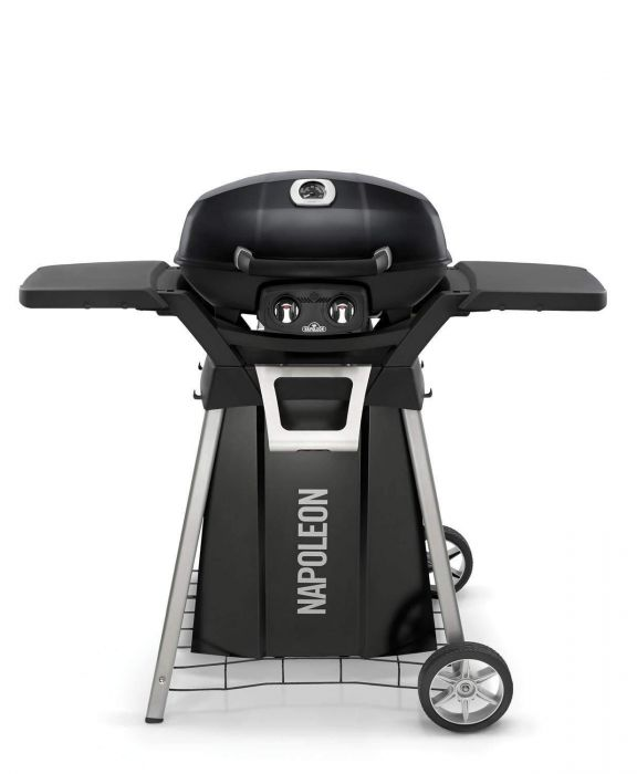 Napoleon TravelQ Pro Portable Gas Grill With Cart And Side Shelf Kit
