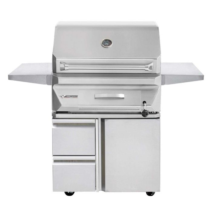 Twin Eagles 30 Inch Charcoal Grill On Cart with Two Drawers and a Door