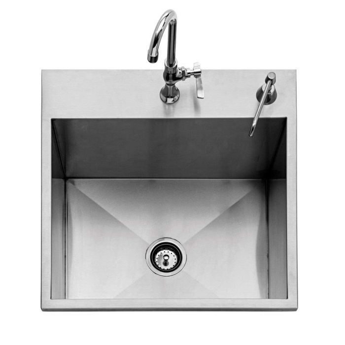 Twin Eagles 24 Inch Outdoor Sink w/ Cold Faucet & Soap Dispenser